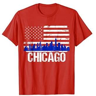 Mens Chicago Skyline Distressed American Flag T-Shirt