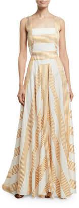 Loro Piana Camille Long Miter-Stripe Sundress