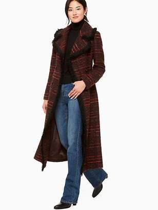 Kate Spade Multi tweed fringe coat
