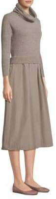 Peserico Knit Taffeta A-Line Midi Dress