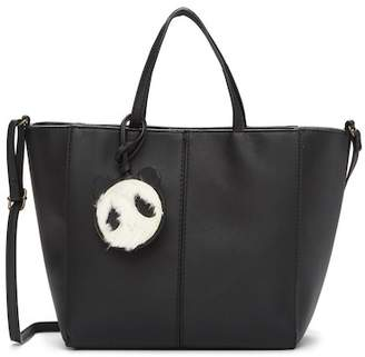 T-Shirt & Jeans Tote Bag With Faux Fur Panda Charm