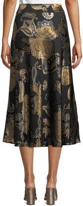 Lafayette 148 New York Kamara Metallic Paisley-Jacquard Midi Skirt