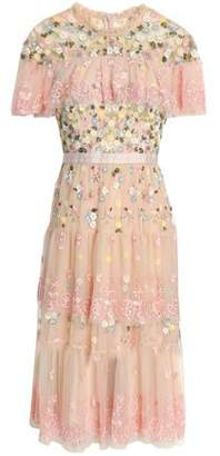 Needle & Thread Tiered Embellished Embroidered Tulle Dress