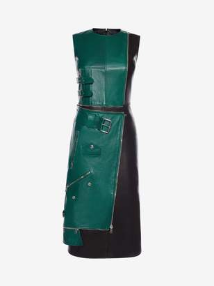 Alexander McQueen Leather Biker Midi Dress
