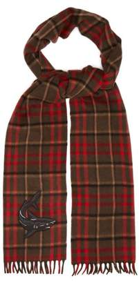 Gucci Shark Embroidered Checked Scarf - Mens - Red Multi