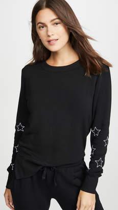 Chrldr Stitched Stars High Slit Sweatshirt