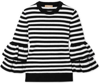 Michael Kors Ruffled Striped Cashmere-blend Sweater