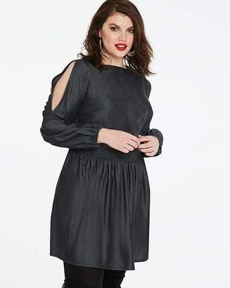 Fashion World Volume Sleeve Shirred Soft Tencel Dress