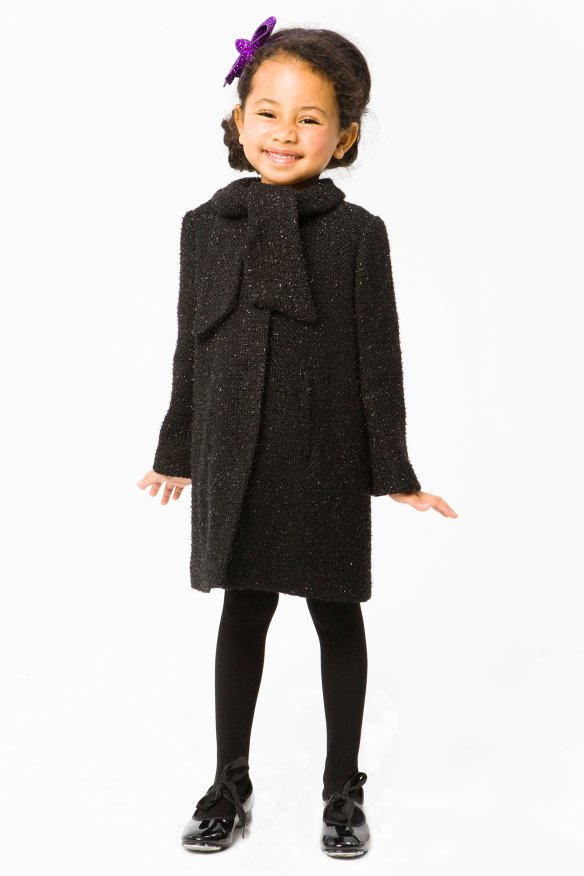 Milly Minis Girls Black Coats - Belle Bow Coat
