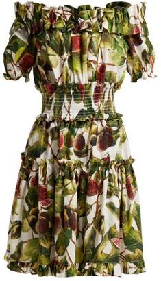 Dolce & Gabbana Fig Print Off The Shoulder Cotton Dress - Womens - White Multi