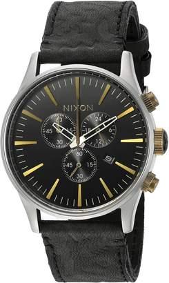 Nixon Men's A4052222-00 Sentry Chrono Leather Analog Display Japanese Quartz Black Watch