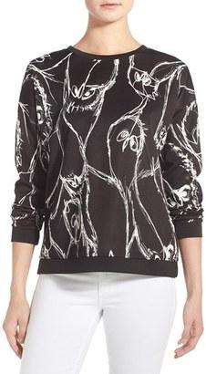 kensie Sketched Bird Print Sweatshirt $69 thestylecure.com