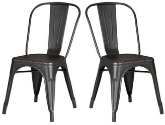 AC Pacific Modern Distressed Black Metal Dining Room Kitchen Bar Chair. 18 inch seat Height, Set of 2