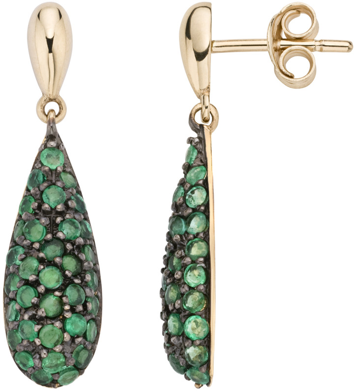 1 1/2 Carat Emerald 14K Yellow Gold Earrings