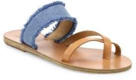 Ancient Greek Sandals Daphnae Leather& Denim Slide Sandal
