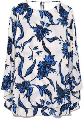 Schumacher Dorothee Spiky Flora Blouse in Blue/White Flora
