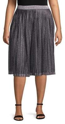 Context Plus Metallic Pleated A-Line Skirt
