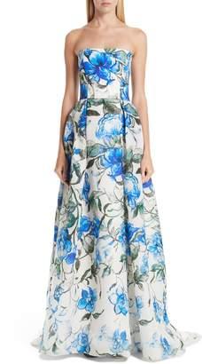 Carolina Herrera Floral Print Strapless Silk A-Line Gown