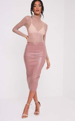 PrettyLittleThing Eva Rose Faux Leather Panel Midi Skirt