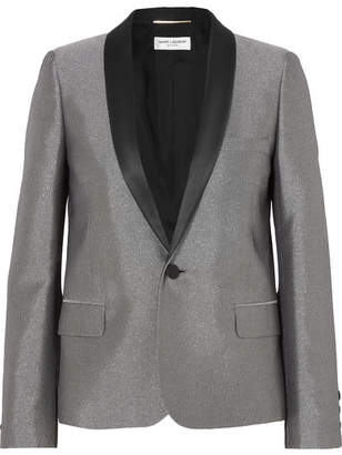 Saint Laurent Satin-trimmed Lamé Tuxedo Blazer - Silver