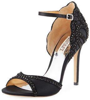 Badgley Mischka Roxy Embellished Satin Ankle Sandal