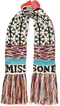 Missoni Fringed Intarsia Wool-blend Scarf - Black