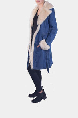 Honey Punch Denim Faux-Fur Coat