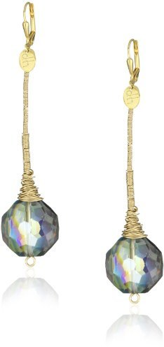 "Double Happiness Jewelry ""Sea Crystal"" Beach Jewel Crystal Gold-Filled Tapered Drop Earrings"