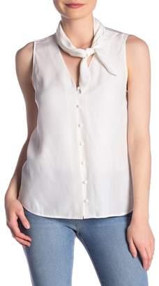 Frame Tie-Neck Sleeveless Silk Blouse