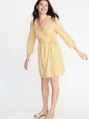 Old Navy Waist-Defined Patterned Wrap-Front Dress for Women