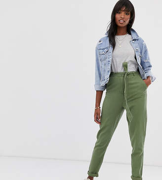 Asos Tall DESIGN Tall washed soft twill tie waist casual trouser