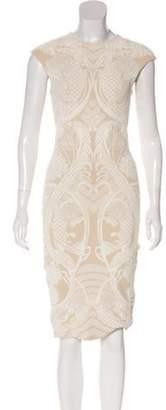 Alexander McQueen Crew Neck Knee-Length Dress white Crew Neck Knee-Length Dress