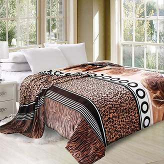 """HIG FURS AND FLOWERS Oversized Printed Luxurious Super Soft Plush Flannel Blanket, Silky Throw in Queen Size 79""""x87"""""""