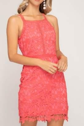 She + Sky Sleeveless Lace Dress