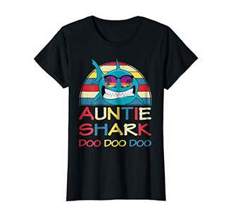 Womens Auntie Shark Shirt Retro Vintage Matching Family Gift Aunt