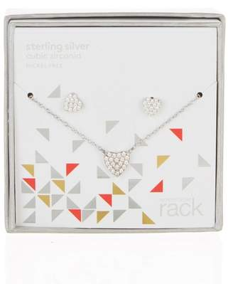 Nordstrom Rack Sterling Silver Pave CZ Heart Pendant Necklace & Stud Earrings Set
