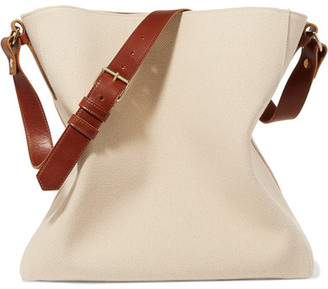 Lanvin - New Hobo Leather-trimmed Cotton-canvas Tote - Ivory $1,295 thestylecure.com