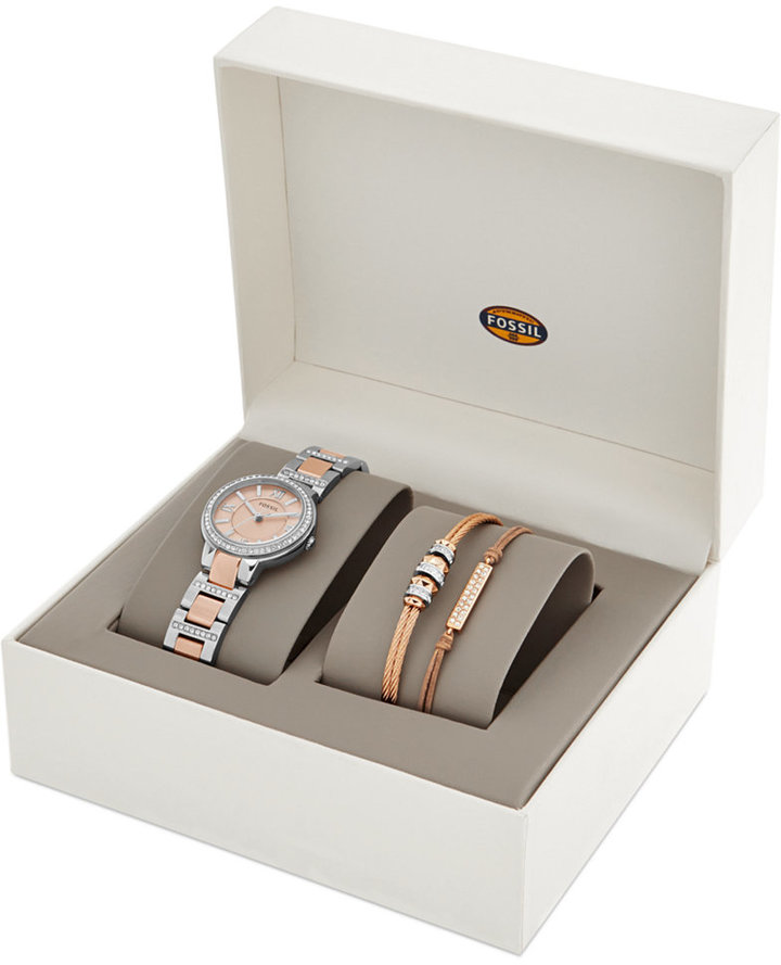 FossilFossil Women's Virginia Crystal Accent Two-Tone Stainless Steel Bracelet Watch Set 30mm ES3697
