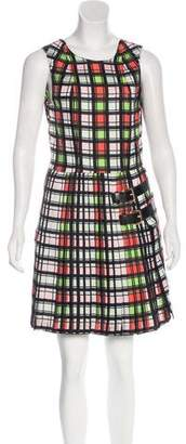 Marni Leather-Accented Plaid Dress