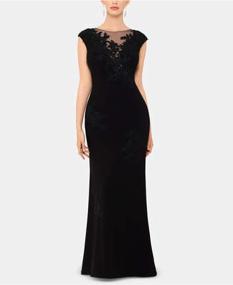 Xscape Evenings Petite Embroidered Illusion Gown
