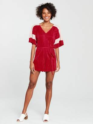 River Island Plisse Playsuit - Red