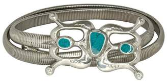 Kenneth Jay Lane Silver Stretch Belt With Turquoise Buckle