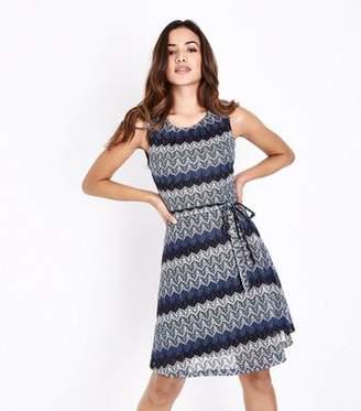 Yumi Blue Glitter Lace Sleeveless Dress