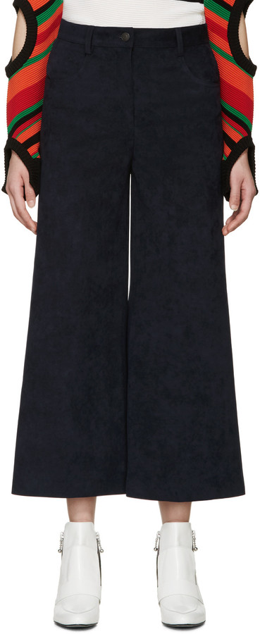 MSGM Navy Faux-Suede Cropped Trousers