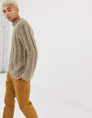 Asos DESIGN hand knitted heavyweight turtleneck sweater in oatmeal