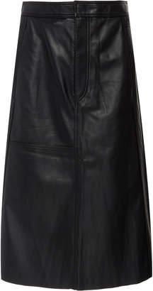 Joseph Bell Leather Midi Skirt