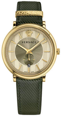 Versace 42mm Manifesto Watch with Green Leather Strap