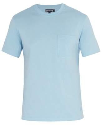 Vilebrequin Logo Embroidered Cotton T Shirt - Mens - Light Blue