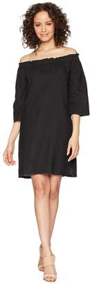 Allen Allen Ruffle Edge Linen Dress Women's Dress