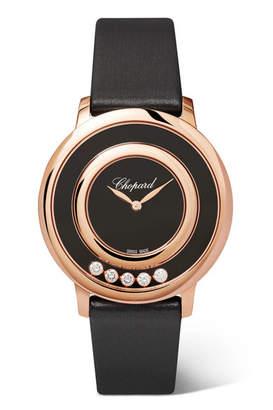 Chopard Happy Diamonds 32mm Satin, 18-karat Rose Gold, Onyx And Diamond Watch